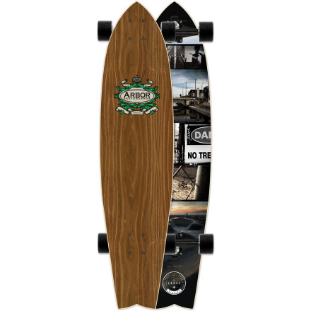 Skateboard The surf-inspired Arbor Mission Walnut Longboard features a stretched-out swallowtail shape with an extended wheelbase and concave profile for stability at speed. Gullwing Charger trucks and gooey 78a wheels keep your carves locked in, even when the riding surface is less than buttery-smooth. - $181.95