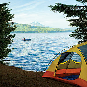 Camp and Hike Wake up to the view of Mt. Hood rising from an alpine forest at Oregon's Hoodview Campground.  Call 503.622.3191 to reserve.