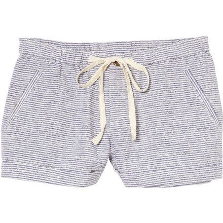 Surf Slip into the Quiksilver Juniors Women's Pool Stripe Shorts when you want a little more coverage than your bikini bottom gives you, but you want to keep the cool, barely there feel of beach wear. These short linen shorts are great for too and from the beach or kicking back on the front  porch. - $44.50