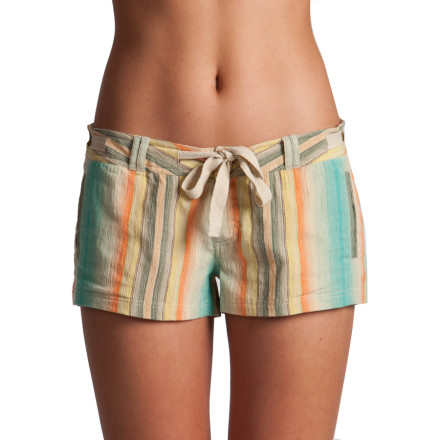 Entertainment Show that you're stoked on summer in the colorful Rip Curl Some Fun Women's Short. The super light cotton gauze fabric is perfect for handling the dog days of summer, and the bright warm-weather colors provide the perfect look for everything from backyard barbeques to the beach. - $41.95