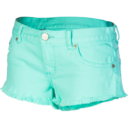 Camp and Hike From music festivals to backwoods bonfires, go wild in the Rip Curl Frayed Frenzy Women's Mini Short. A frayed hem provides a casual cut-off denim look, and the stretchy fabric allows plenty of freedom of movement while you're dancing, hiking, or doing any other soul-soothing summery stuff. - $49.45