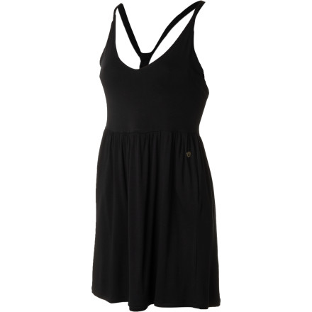 The summery, flowy feel and simple sporty look of the Nomis Women's Found Dress give it irresistible versatility and style. With a strappy back that allows unhindered arm mobility without strap slippage and wardrobe malfunctions, a gathered waist, and a full skirt, there's plenty of style to go around and without fussy frill. - $49.95