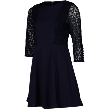Let your fashion sense shine in the simple yet elegant Sitka Ebba Bodice Women's Dress. A plain front with a semi-fitted bodice provides sophisticated style, and lace sleeves add just the right amount of glamour. - $89.95