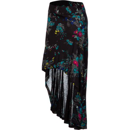 Surf Pull on the sweet Billabong Women's Halfwayz Skirt for feminine flair with summery comfort. Made from smooth viscose knit, this skirt breathes and absorbs moisture for a cool feel, drapes beautifully, and feels like silk next to skin. The high-low hemline gives it fun dimension and casual elegance, and the allover floral print adds flirty beauty. - $39.45