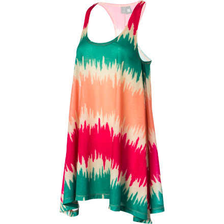 Surf Embrace your inner flower child with the Insight Static Dress. Tie-dye style is made even better by the flowy, loose racer back silhouette for fun, summery fashion that will make you the envy of music festivals and backyard barbecues alike. - $71.45