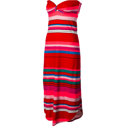 Surf Slip of your shoes and stroll the beach in your Roxy Entangled Maxi Dress. The cool, flowing fabric and bold fiesta stripe will catch and capture admiring glances while the fitted maxi cut and strapless design help you wind your way into the heart of every onlooker. - $54.50