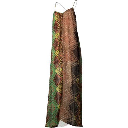 The wild and ethereal RVCA Women's Aifric Dress delivers bright, bold prints in a light, sheer drape. A mini lining keeps you covered while the feathery maxi length gives a dreamy look and feel. Spaghetti straps that form the sporty racer back yield an exaggerated low back and deep armholes for a sexy, tan-revealing silhouette. The tribal print and free, easy layering feel both exotic and earthy. - $59.95