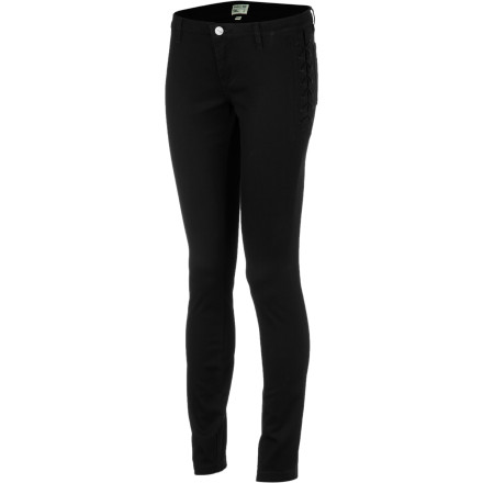 Whether you're going out with the girls or going for a more sensual look, reach for the RVCA Women's Noise Pollution Denim Pants. These skinny-fit jeans feature fixed lace-up side seam details that help you show off your curves. - $69.45