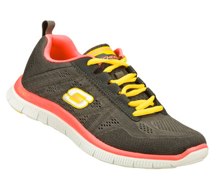 Fitness Hit just the right combination of comfort and sporty style with the SKECHERS Flex Appeal - Sweet Spot shoe.  Unique Skech-Knit Mesh fabric upper in a lace up sporty athletic training sneaker with stitching and overlay accents. Memory Foam insole. - $70.00