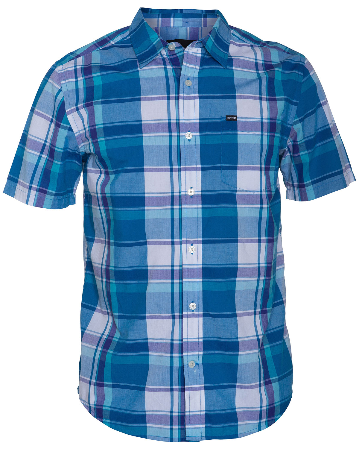 Surf Key Features of the Hurley Copter Shirt: Regular fit 60% cotton/40% polyester Midscale tonal yarn-dye plaid whiteground Single chest pocket Pearl button closure Colorbar button at back collar - $28.95