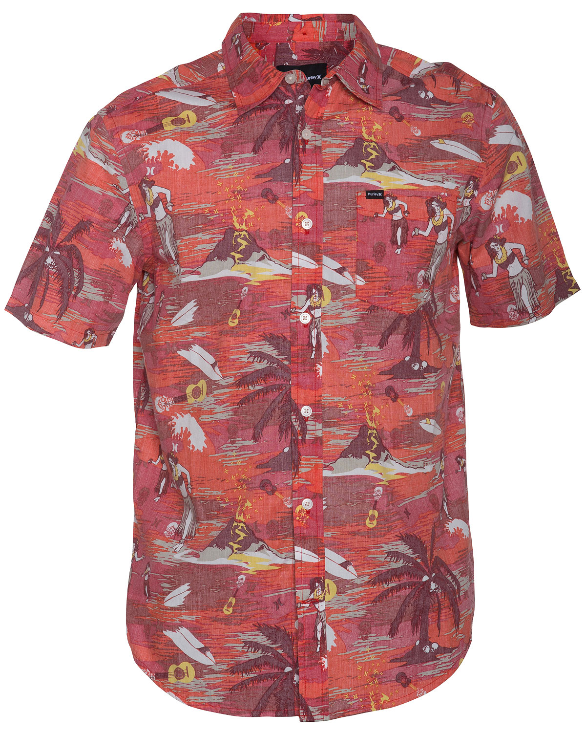 Surf Key Features of the Hurley Suarez S/S Shirt: Regular fit 60% cotton/40% polyester Push-through hurley floral print Single chest pocket Pearl button closure Colorbar button at back collar - $31.95