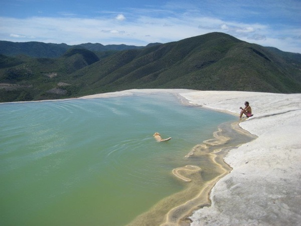 Fitness Swim above Hierve el Agua's stone falls.  Article by Shannon Dybvig posted May 1, 2013