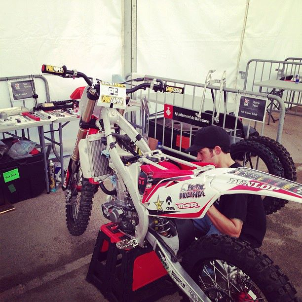 Motorsports Ronnie Faisst and his mechanic making some last minute adjustments on his ride for tonights X Games Speed & Style. http://www.metalmulisha.com/blog/2013/05/metal-mulisha-ready-to-take-on-x-games-barcelona/