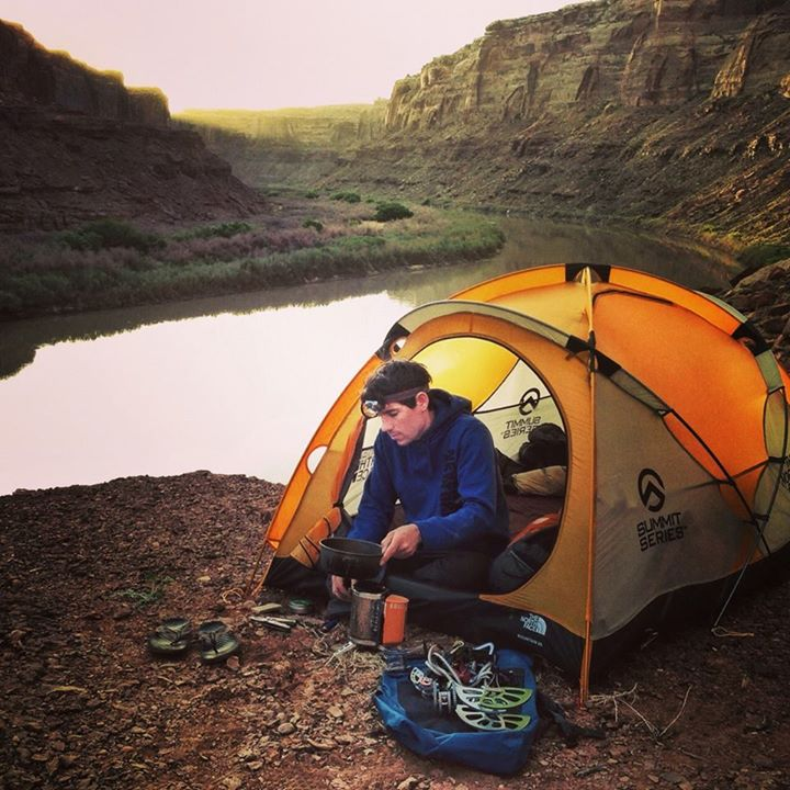 Camp and Hike Team climber Alex Honnold - aka 'no crack stands a chance' - prepares for another day of splitter crack climbing on the Green River. Photo by fellow team athlete Renan Ozturk. Check out more photos from the expedition on Instagram with #GreenRiverRock.