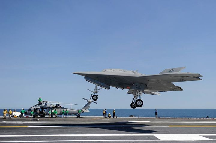 Guns and Military For the second time this week, this unmanned aircraft has made U.S. Navy history!  Watch as the X-47B accomplished the first unmanned carrier touch and go aboard USS George H.W. Bush (CVN 77) today: http://ow.ly/l9A2F