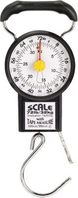 Camp and Hike Never let airline luggage fees surprise you again. Attach and lift this handy mechanical scale and the automatic weight marker quickly and accurately reads the weight of your baggage and then easily resets with the twist of a dial. Powerful enough to weigh up to 72 lbs., yet compact enough to carry anywhere, it features durable components and a comfort-grip handle. Switches from kg. to lbs. Includes 39 tape measure. - $9.99