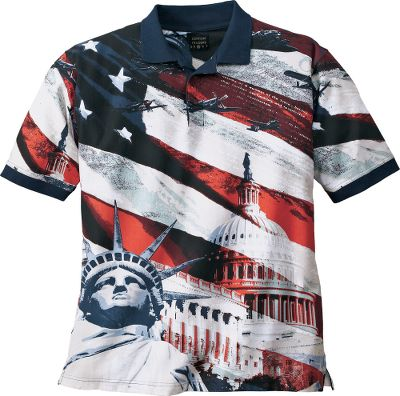 Guns and Military Show your pride in the USA with the Patriotic Star Spangled Banner Short-Sleeve Polo. Featuring the Bill of Rights, the Congress building and the Statue of Liberty, youll be displaying three important symbols of our nations heritage. Rib-knit collar and cuffs, three-button placket. 100% cotton. Imported.Sizes: M-2XL.Color: Navy. Type: Polos. Size: X-Large. Color: Navy. Size Xl. Color Navy. - $8.88