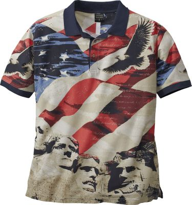 Guns and Military Show your pride in the USA with the Patriotic Star Spangled Banner Short-Sleeve Polo. Featuring Old Glory, Mt. Rushmore and a soaring Bald Eagle, youll be displaying three important symbols of our nations heritage. Rib-knit collar and cuffs, three-button placket. 100% cotton. Imported.Sizes: M-2XL.Color: Navy. Type: Polos. Size: X-Large. Color: Navy. Size Xl. Color Navy. - $8.88