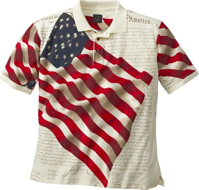Printed in patriotic style, this short-sleeve polo sports a rib-knit collar and cuffs. Made of 100% cotton. Three-button placket. Imported.Sizes: M-2XL.Color: Natural. Type: Polos. Size: Large. Color: Natural. Size Large. Color Natural. - $8.88