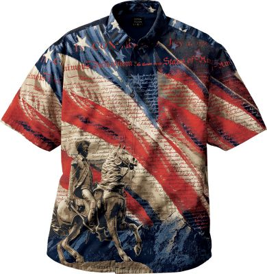 Guns and Military Show your pride in the USA with the General Patriotic Short-Sleeve Woven Shirt. Featuring the Declaration of Independence and a Revolutionary War cavalry statue set against Old Glory, youll display the very foundation of our country. Button-up collar. 100% cotton. Imported. Sizes: M-2XL. Color: Navy. Size: Large. Color: Navy. Gender: Male. Age Group: Adult. Material: Cotton. Type: Short-Sleeve Shirts. - $44.99