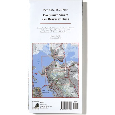 The Redwood Hikes Bay Area topographic trail map covers the myriad of trails and topography of Carquinez Strait and Berkeley Hills in vivid, easy-to-read detail. - $7.95