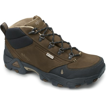 Camp and Hike The Ahnu Elkridge mid-cut hiking shoes offer you durable waterproof, breathable protection and support for all types of hiking and all-day walking, rain or shine. Uppers feature a mix of tough, full-grain leather and protective synthetic leather for lasting performance and support; rubber toe caps protect uppers and feet from abrasion. Highly breathable eVent(R) waterproof membranes keep exterior moisture out while allowing interior perspiration to dissipate and vent quickly. Nylon linings wick moisture away from feet. Dual-density EVA midsoles provide shock absorption and cushioning comfort underfoot; EVA plugs work with external struts to stabilize heels for enhanced performance. Thermoplastic urethane arch shanks and forefoot plates supply support and torsional rigidity, and help prevent stone bruising. Nonmarking rubber outsoles on the Ahnu Elkridge Mid hiking boots feature multidirectional lugs for great traction on changing terrain. Closeout. - $99.73