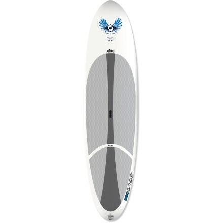 Surf Afraid of making the wrong kind of splash in your paddling debut? The Bic Sport ACS 10 ft. 4 in. stand up paddleboard offers great stability so you end up dry, not dripping wet, after your first try. 10 ft. 4 in. length and 31 in. width offers very good maneuverability without sacrificing stability; it tracks well in flatwater. A foam core encased in thermoformed polyethylene offers excellent durability and high flotation. Padded deck supplies reliable wax-free traction when paddling in the standing or kneeling position, and it increases comfort on long paddles. 10 in. single fin promotes straight tracking in the water. Integrated carry handle on deck makes toting the 35 lb. Bic Sport ACS stand up paddleboard quick and easy. Special buy. - $639.73