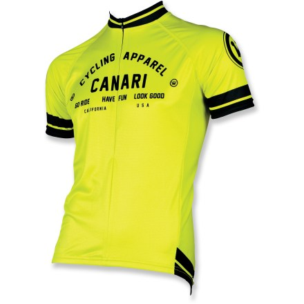 Fitness Stay cool and collected as you ride in the Canari Campari bike jersey, which wicks moisture and dries quickly to maximize your comfort during warm-weather rides. Jersey is constructed from polyester fabric that draws sweat and moisture away from your body for quick evaporation, helping you stay cool as you ride. 14 in. front zipper lets you open the top of the jersey for ventilation. Raglan sleeves move seams away from shoulders to enhance fit and allow comfortable freedom of movement. Canari Campari bike jersey has 3 back pockets to stash a few essentials such as snacks, keys, ID and food. Athletic, close fit hugs the body. - $19.83