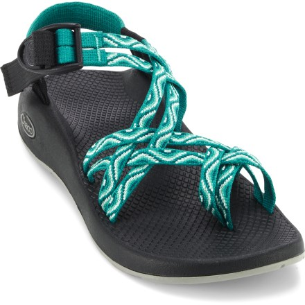 Camp and Hike The Chaco ZX/2 Yampa sandals bring a splash of color to your world; plus, they offer great support, comfort and traction for your adventuring. Infinitely adjustable polyester strapping system uses a pull-through design to give you a secure fit while avoiding the bulk of extra buckles and straps. Dual-strap polyester webbing dries faster than nylon, maintaining a uniform fit in all conditions; adjustable toe loops add an extra measure of security. Lightweight polyurethane midsole/topsole units offer durable, dependable cushioning and support. Shaped polyurethane footbeds/midsoles feature a supportive, comfortable design with heel risers, heel cups and extra arch support for lasting pronation control. LUVSEAT(TM) XO1 platform offers durability, cushioning and support. Vibram(R) Yampa nonmarking rubber outsoles feature 2 - 3mm lugging and water drainage channeling for excellent performance in aquatic conditions. - $69.93
