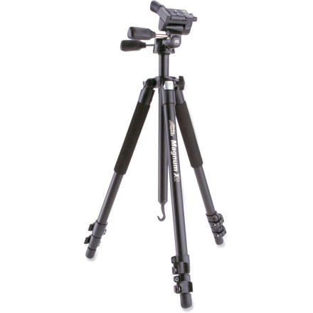 Entertainment The Davis & Sanford Magnum XG tripod with pan head offers multipurpose, professional-grade performance in a rugged design that is ideal for outdoor use. Extra-sturdy body and legs stand up to rough outdoor use with a DSLR camera, video camera or spotting scope. 3-way, low-profile pan head helps achieve the perfect angle and ensures fluid movement-perfect for DSLR cameras with HD video mode. Magnum XG features 2 built-in bubble levels in the head and 1 in the tripod. 4-position, independent leg adjustments and quick-lift, 2-section center post allow fast adjustment and a low shooting angle. Bottom center post hook lets you hang equipment or add weight for increased stability. Adjustable, 3-section snap leg locks and rubber feet help create a solid base. The Davis & Sanford Magnum XG tripod comes with a high-quality travel bag. - $95.93