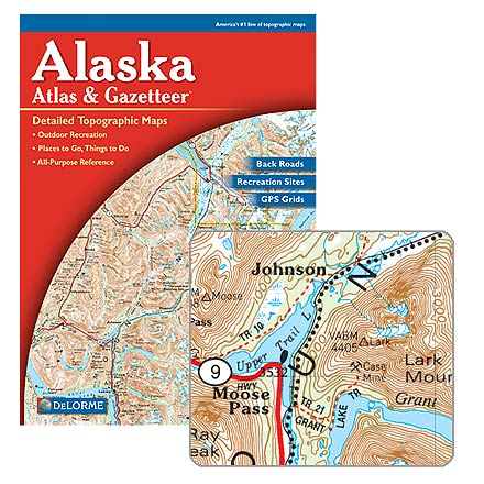 Atlas and gazetteer to Alaska, features topographic maps of the entire state with roads, trails and recreational opportunities. Includes backwater lakes and streams, forests, trailheads, campgrounds, public lands, hunting and fishing and more. Map scale is 1:300,000 and 1:1,400,000 with a contour interval of 200 or 1,000 feet. DeLorme Publishing. - $19.95