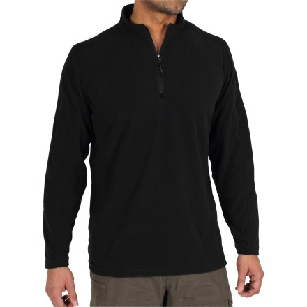As the perfect compromise between your favorite T-shirt and your coziest sweater, the ExOfficio Migrator Quarter-Zip microfleece shirt delivers soft, lightweight warmth without being bulky. Lightweight, quick-drying, partially recycled polyester fleece provides insulation while wicking moisture off skin to keep you dry and comfortable. Quarter-zip opening lets you adjust the ventilation. Flatlock stitching and off-shoulder seams reduce chafing; zippered pocket on left sleeve. Closeout. - $48.73