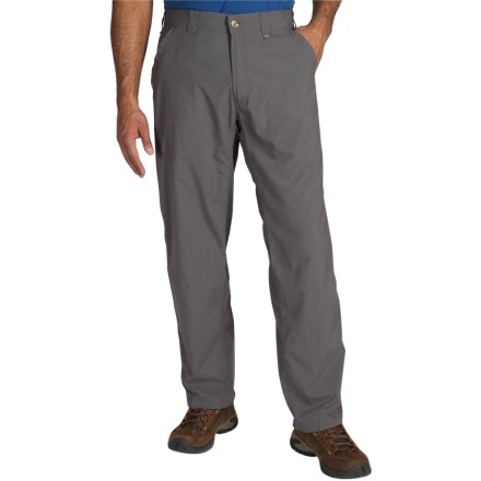 Camp and Hike Providing lightweight, breathable coverage, the ExOfficio BugsAway(TM) Ziwa pants feature built-in bug protection so you can enjoy the outdoors without the company of pesky mosquitos. BugsAway Insect Shield(R) clothing repels mosquitoes (including those carrying West Nile virus and malaria), ticks, ants, flies, chiggers and midges or no-see-ums. Insect Shield(R) is effective through 70 washes. Lightweight, breathable nylon wicks away moisture and dries quickly to keep your skin cool and comfortable. Integrated UPF 30 sun protection guards against harmful ultraviolet rays. Closeout. - $34.73