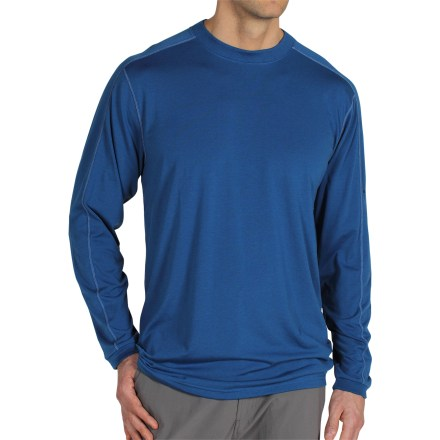 Fitness The ExOfficio ExO Dri(TM) Crew shirt offers the fit and feel of an old favorite with performance fabric to keep you dry and cool during all your outdoor adventures. Dri-release(R) polyester/cotton blend feels incredibly soft, wicks moisture and dries quickly to keep you comfortable. Freshguard(R) odor neutralizer helps prevent odor so fabric stays fresh, even after multiple wears. With a UPF 20 rating, fabric provides very good protection against harmful ultraviolet rays. Flatlock seams offer flexibility and comfort. The ExOfficio ExO Dri Crew shirt has a relaxed, loose fit. Closeout. - $34.73