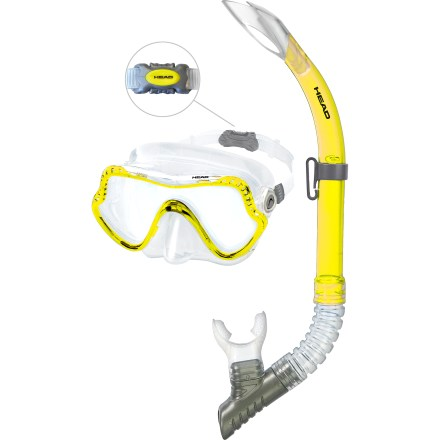Scuba Leaving a little more in your wallet for souvenirs, the Head Grouper Dive Mask and Snorkel combo gets you out in the water and exploring underwater worlds. Dive mask features a wide field of vision, an adjustable head strap with a quick-release buckle and a silicone face skirt that keeps water out. Quick-release buckle (pictured) makes it very easy to put on mask and position it correctly, and comfortably, on your face. Snorkel features a soft, silicone mouthpiece that fits comfortably in your mouth. Shaped top prevents waves from entering snorkel from the front, back and sides, ensuring you won't be suprised by inhaling an errant wave. The Head Grouper Dive Mask and Snorkel combo includes a reusable mask storage box. - $35.00