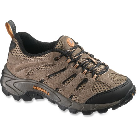 Camp and Hike Built for hiking and outdoor adventures on warm summer days, the exceptionally breathable kids' Merrell Moab Ventilator Lace-Up shoes provide top-notch comfort to your mountaineer-in-training. Suede leather and nylon mesh uppers offer ample breathability, flexibility and support for long-lasting performance. Protective toe bumpers ensure durability and abrasion resistance. Mesh padded tongues protect insteps against lace pressure without inhibiting breathability. Nylon mesh linings absorb and disperse excess moisture for comfort in hot conditions. EVA midsoles with Air Cushion heel pockets absorb shock; removable, perforated footbeds add cushioning for improved comfort. Merrell Pulse rubber outsoles feature a tread design inspired by mountain bike tires to deliver reliable traction on wet and dry surfaces. Closeout. - $23.73