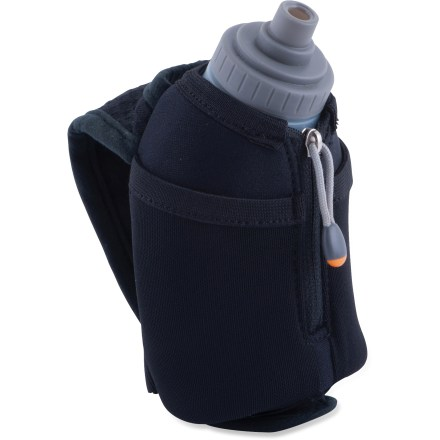 Camp and Hike The Nathan Thermal Quickshot Handheld hydration flask keeps fluids cold during long, hot runs so each sip provides cool relief and you stay hydrated. Thermal Quickshot includes a 10 fl. oz. flask with high-flow, 1-way valve Race Cap that opens and closes easily while you're midstride. Moisture-wicking hand strap quickly adjusts to fit any hand size. 2 small stash pockets and an ID pocket keep small items secure. Thermal insulation keeps your beverage warm or cold. Reflective details enhance visibility in low light. Closeout. - $9.73