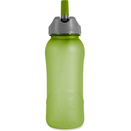 Camp and Hike The 16oz. Nathan Flip-Straw Tritan(TM) water bottle features an easy-to-use flip-top opening and straw, making it easy to stay hydrated on the trail even if you only have one hand free. Eastman Tritan(TM) copolyester bottle holds 16 fl. oz. (500ml) of your favorite drink; bottle is 100% BPA free and dishwasher safe (top rack only). Convenient Flip Straw lid lets you sip on fluids without unscrewing the cap or tilting the bottle. Finger loop with QuickClip(TM) lets you carry the bottle in the crook of a finger or attach the bottle to belts and backpacks. Wide-mouth, screw-top lid is easy to grip, clean and fill; opening is large enough to accept ice cubes. Bottle is shaped to fit in most car cup holders and bike cages. Includes molded gradations on the bottle so you can measure water amounts while mixing energy drinks. Do not microwave. Closeout. - $2.73