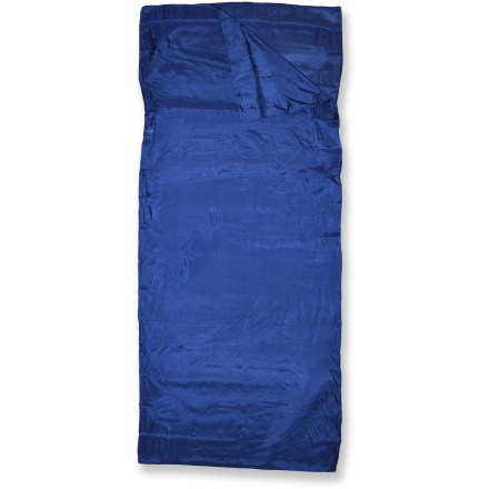 Camp and Hike The Outbound Silk Rectangular sleeping bag liner offers you the luxurious comfort of silk sheets, adds a few degrees of warmth to your rectangular-shape bag and helps keep it clean. Silk fabric is lightweight, breathable, resilient and color fast; machine washable. Integrated pillow sleeve extends protection to the hood of your bag and helps hold your pillow in place. Includes a handy drawstring stuff sack. Closeout. - $59.73