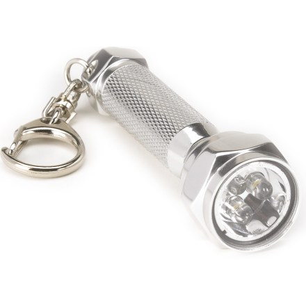 Camp and Hike Equipped with a convenient clip for attaching to key rings, backpacks or clothing, the Stansport Aluminum LED Flashlight will be at the ready when you need to shed some bright light on your situation. 3 long-lasting LED bulbs cast a bright, even, white light. Durable aluminum construction stands up to wear and tear. Runs on 4 LR44 1.5V calculator batteries, included. Closeout. - $8.73