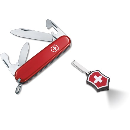 Camp and Hike Attack small outdoor tasks and illuminate your path with the combination of the Swiss Army Recruit knife and Microlite LED light. Crafted by Victorinox in Switzerland, the Recruit knife sports nylon handles, aluminum housings and stainless-steel components that will last for years. Large and small blades handle all kinds of cutting and slicing needs. The Swiss Army Recruit knife also features a can opener, bottle opener, large and small screwdrivers, wire stripper, toothpick, tweezers and lanyard ring. With the squeeze of a button, the tiny Microlite LED emits a beam that can be seen up to a mile away. Impact- and water-resistant light shines for up to 15 hrs. per battery set (includes two CR2016 3vV lithium batteries). - $19.93