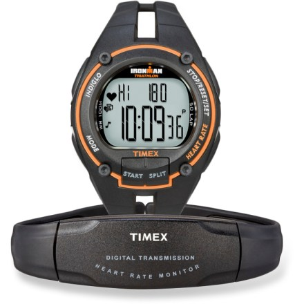Camp and Hike Just like your training partners that always push the pace, the men's digital Timex Ironman Road Trainer heart rate monitor helps you get the most out of every workout. Preset your desired heart rate exercise zone; an alarm will warn you when you have gone out of your zone. Average heart rate is given for total workout, for each lap and for total time in your zone. Provides total calories burned and displays percentage of maximum heart rate. Recovery heart rate timer measures your heart rate after a timed recovery, during or after your workout. Maximum heart rate zone calculation automatically sets your 5 training zones; 1 manual zone included. Digital transmission protects your data from crosstalk with other heart rate monitors and electronic interference from exercise equipment. INDIGLO(R) night-light illuminates the display for easy use at night. 100-hr. chronographs with lap and split options; 50-lap memory; 100-hr., 2-mode countdown timer; water-resistant to 100m. Includes heart rate sensor with adjustable chest strap; water-resistant hatch in heart rate sensor accommodates quick and easy battery changes. Overstock. - $65.73