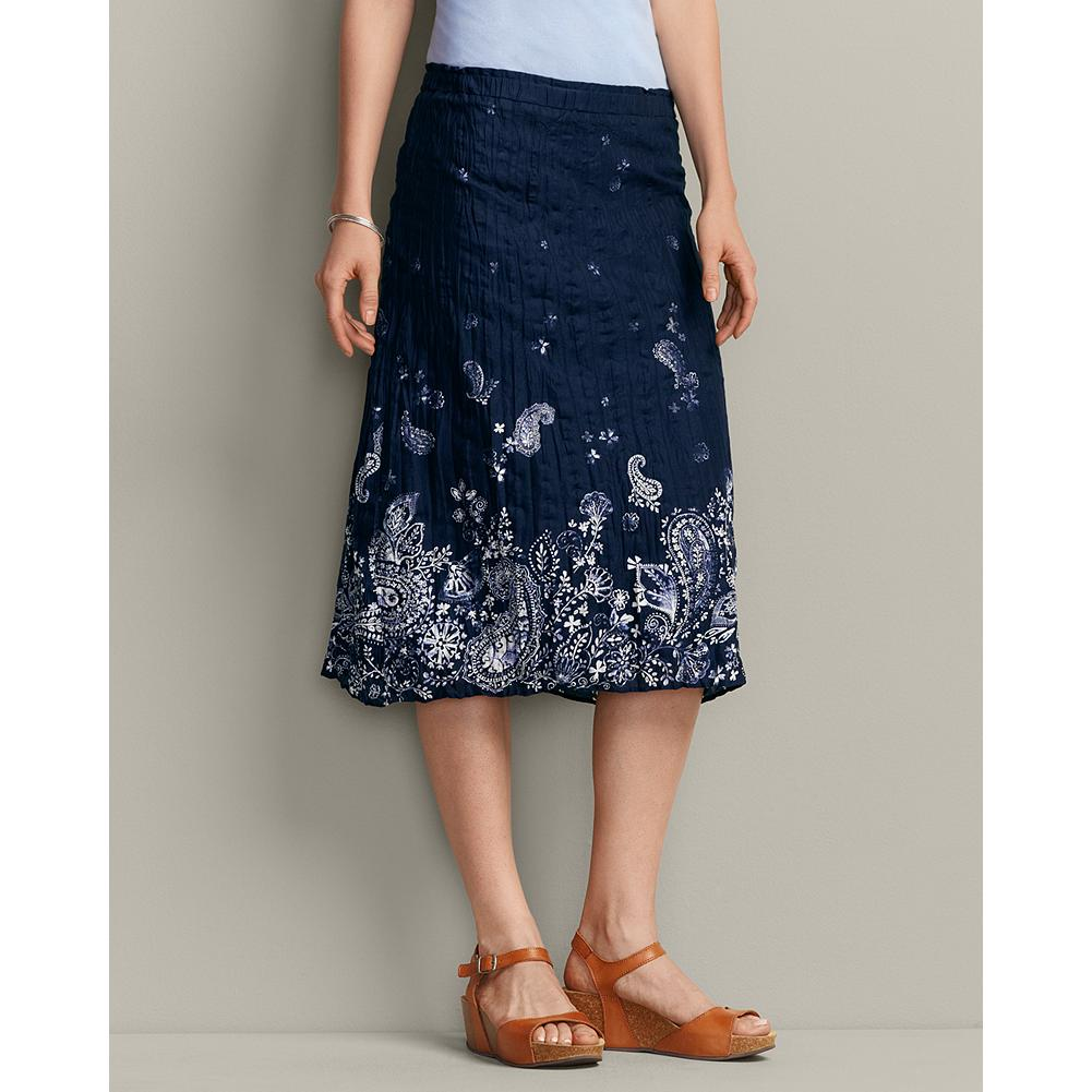 Eddie Bauer Bandana Print Skirt - Finely woven, 100% cotton lawn is at the heart of our print skirt. The fabric's crinkled texture doesn't show wrinkles, so it's packable and travel friendly. And the placed border print is inspired by traditional bandana designs. - $19.99