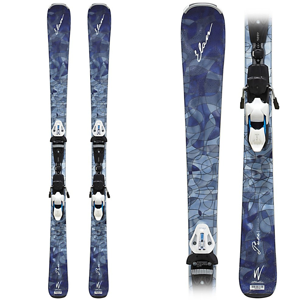 Ski Elan Pure Womens Skis with ELW 11.0 Fusion Bindings - The Pure is a reliable mix of frontside carving performance with a light and lively feel. Starting with Waveflex, the Pure has a stiff feel side to side for a great carving and edge feel with a medium flex tip to tail for a snappy and responsive nature. Bred for performance the Pure excels under the feet of athletic intermediate to solid advanced skiers that lean towards skiing on hard packed and groomed snow, but has enough width to handle light crud and bumps that pile up on groomers at the end of the day. The RST sidewall and Dualite Woodcore that run tip to tail in the Pure amp up the great edge feel while keeping it nice and light. A layer of lithium is also added to the Pure for vibration damping, helping to eliminate any chatter that might have otherwise built up at speed. Designed to be smooth, strong, and undemanding the pure offers up a clean easy feel on packed snow at any speeds. Features: Traditional Camber Profile For Best Grip on Hard Packed Snow. Warranty: One Year, Construction Type: Sidewall, Core Material: Wood & Composite, Base Material: Sintered, Special Features: Waveflex Technology, Special Features: Lithium Layer, Titanium: No, Product ID: 229323, Model Year: 2012, Skill Range: Advanced Intermediate - Expert, Ski Gear Intended Use: All Mountain, Waist Width: 76-85mm, Turn Radius: 11-15, Alpine Touring: No, Twin Tip: No, Race: No, Binding Weight Range: 66-253 lbs, Rocker: Camber, Binding DIN: 3-11, Bindings Included: Yes, Tail Profile: Flared, What Bind - $399.96