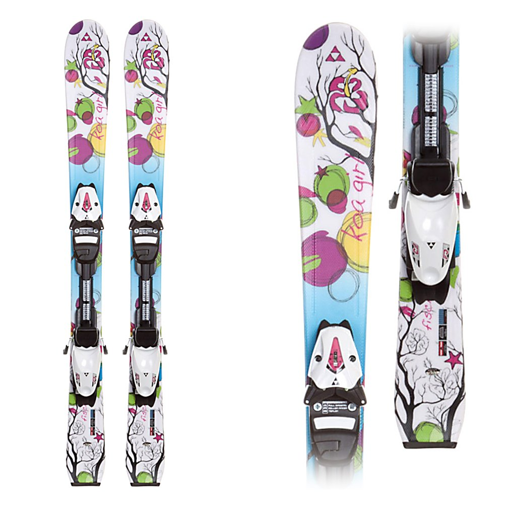 Ski Fischer Koa Kids Skis with FJ4 RF Bindings - Get suited up, put your coat and helmet on and click into the Koa Junior. Built to bring the joy of skiing to youngsters, the Koa is a simple and forgiving ski to inspire confidence in entry level skiers. Using a super light combination of cap construction for forgiveness and pop the Air Power technology for easier handling that requires less energy to get the Koa to turn properly. Inside is Fiber Tech, which uses layers of fiberglass to create a smooth flexing core that stands out with its excellent turning action. On top, the Koa uses Junior Literail for the best integration of ski and binding to allow for the best ski flex to make the most of the smooth and easy turning nature of the Koa. Simple and balanced the Koa Junior is a perfect ski for the entry level on-piste youngster. . Tip/Waist/Tail Widths: 106/67/92mm, Actual Turn Radius @ Specified Length: 13m (@ 130cm), Warranty: One Year, Type: Frontside Skis ( - $129.88