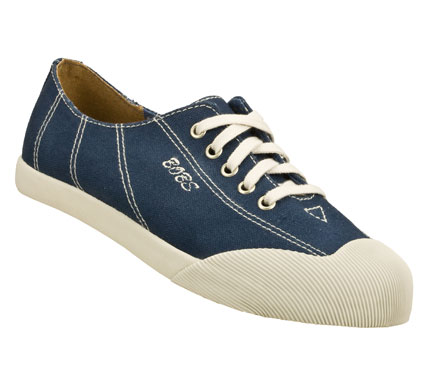 Strike it rich in fun retro style with the SKECHERS Bobs - Nuggets shoe.  Soft woven canvas fabric upper in a lace up casual retro sneaker with textured rubber shell toe and stitching detail. - $36.00