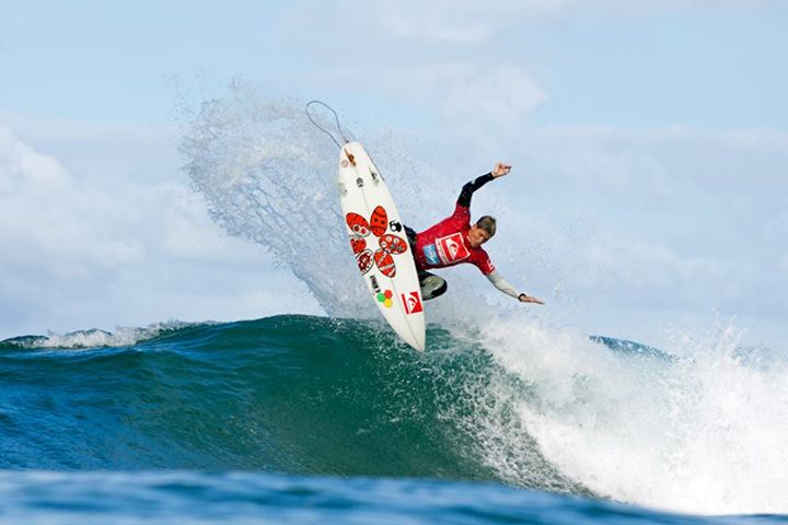 Surf Slade Prestwich taking to the air on day 1 of the Quiksilver Pro Junior & King of the Groms 2013 in Durban, South Africa. See more photos at www.quikprojunior.co.za