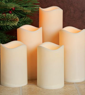 Give your home the romantic glow of natural candles without the risks of flames. This Five-Piece LED Candle Set with Timers allows you to set the candles to automatically turn on at the same time every day. Crafted of water-resistant resin, not only are these candles suitable for home use, theyre also perfect for lighting up your patio. Each candle uses three AAA batteries (included). Set includes two 4.5H x 3W candles, two 6H x 3W candles and one 8H x 3W candle. Color: Natural. - $22.49
