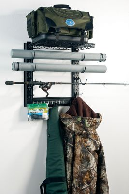 Get all your fishing and outdoor gear organized with the Game Changer. These heavy-duty brackets mount to wall studs, and the wire shelf holds up to 50 lbs. Horizontal cross bar is adjustable vertically and horizontally and sports four peg hooks for hanging gear. Three sets of U-shaped hooks accept rods, guns, and are wide enough for rod tubes and gun cases.Dimensions: 19.3H x 20W x 11.15D. Type: Rod Racks. Color Black. - $29.88