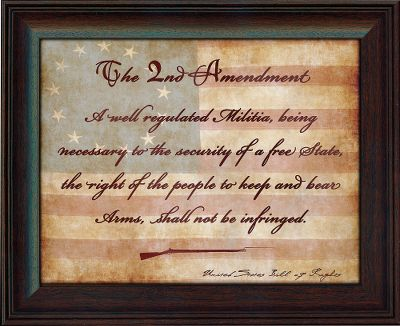 Hang the hallowed text of the Second Amendment up for all to see. Printed in elegant script and set against the original United States flag. Gicle print. Framed behind glass. 17L x 14W. Gender: Male. Age Group: Adult. - $29.99